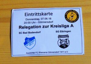 Relegation Scb Ettringen 070618 Eintrittskarte