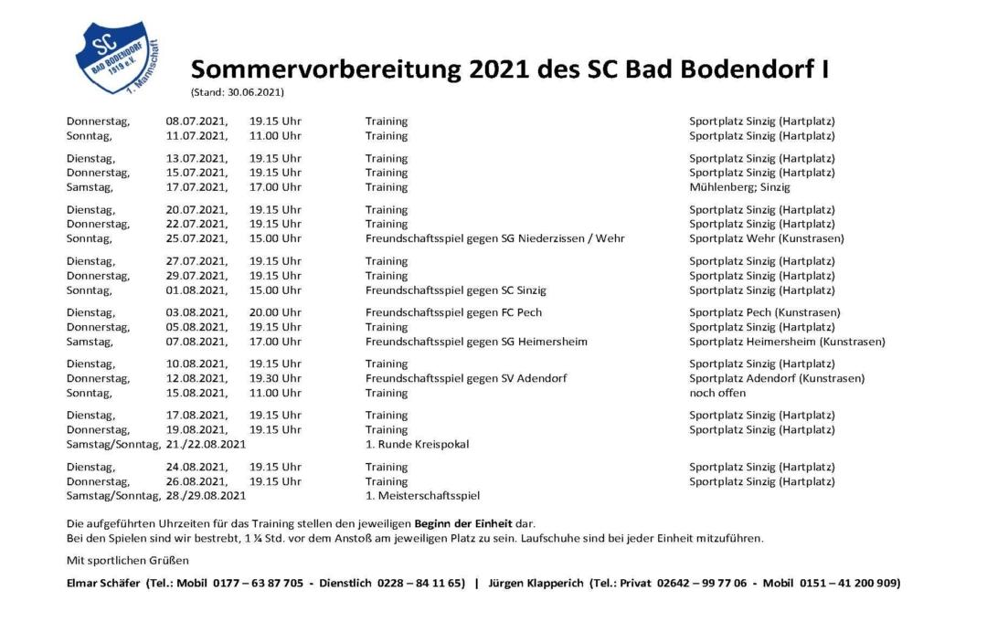 Sommervorbereitung Scb1 010721