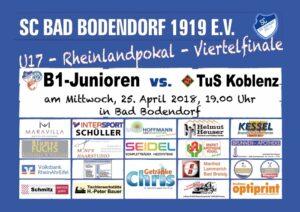 Spielankündigung 250418 B1 Viertelfinale Rheinlandpokal